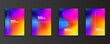 bright color Rainbow gradient background set with modern abstract patterns. Smooth templates collection for brochures, posters, banners, flyers and cards. Vector illustration.