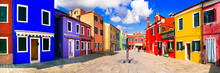 Burano Fishing Village With Painted Colorful Houses. Island Near  Venice. Italy.