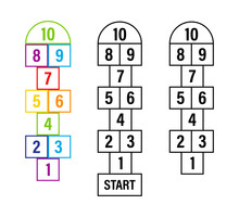 Set Of Child Hopscotch Game Templates. Vector Stock Illustration.