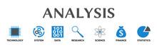 Analysis. Banner Mit Icons Und...