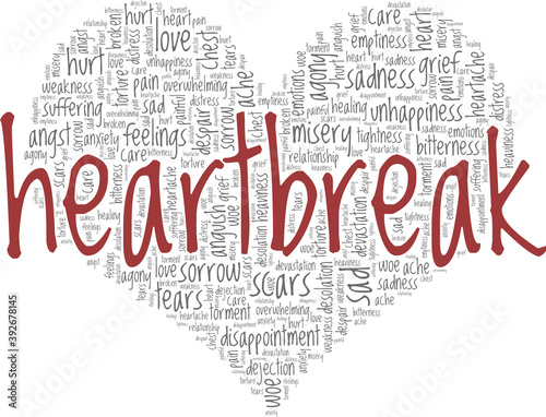 Heartbreak vector illustration word cloud isolated on a white background Poster Mural XXL