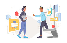 Hacker And Cyber Police Officer Isolated Personal Data Protection And Security. Vector Policeman Stop Fraud, Warning Theft With Laptop To Stop Hacking. Guard Of Online Information And Web Bot