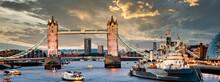 Tower Bridge At Sunset London,...