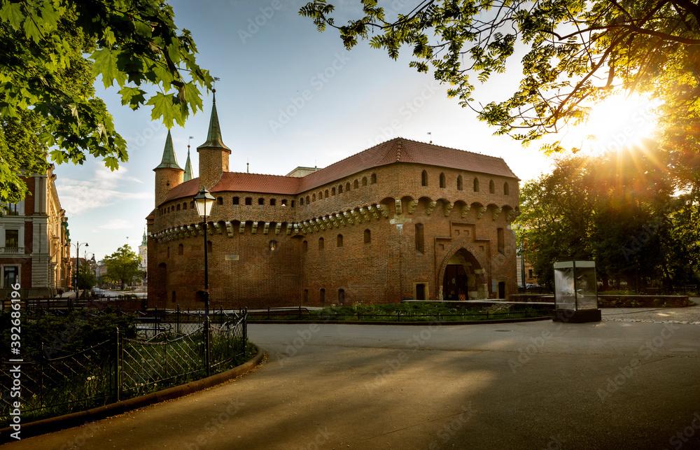 Obraz Barbican in old town of Krakow, Poland fototapeta, plakat