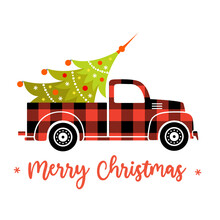 Buffalo Plaid Christmas Truck With Christmas Tree. Red Vector Pickup Isolated On White Background. Christmas Greeting Card.
