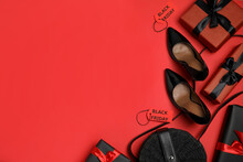 Gift Boxes, Women's Accessories, Shoes And Space For Text On Red Background, Flat Lay. Black Friday Sale