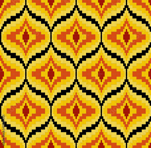 Fotografia, Obraz Bargello seamless pattern in yellow and red colors, traditional italian embroide