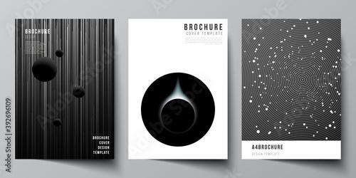 Fotografie, Obraz Vector layout of A4 format cover mockups design templates for brochure, flyer layout, booklet, cover design, book design, brochure cover