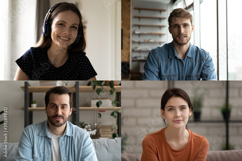 Happy young caucasian male female people friends holding video call conversation or enjoying online educational training workshop seminar remotely from home, modern distant communication concept Wallpaper Mural