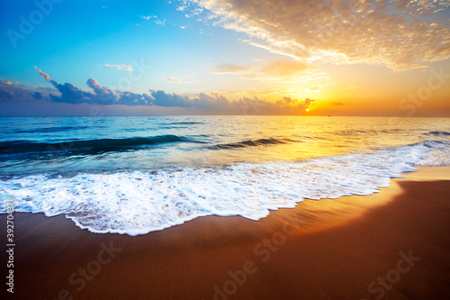 Fototapety, obrazy: beautiful tropical sunset and sea