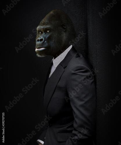 Canvas Print Gorille en smoking