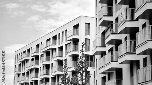 Papel de parede Detail of modern residential flat apartment building exterior