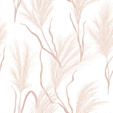 Dry Pampas Grass Seamless Vector Pattern. Watercolor Floral Autumn Background. Boho Fall Texture Illustration