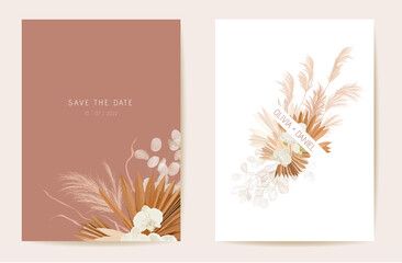 Wedding dried lunaria, orchid, pampas grass floral invitation. Vector Exotic dried flowers, palm leaves boho card