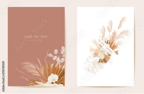 Fototapeta Wedding dried lunaria, orchid, pampas grass floral invitation