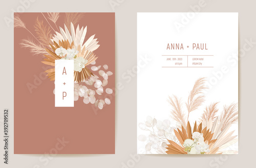 Fototapeta Wedding dried lunaria, orchid, pampas grass floral vector card. Exotic dried flowers, palm leaves boho invitation obraz
