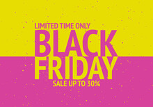 Black Friday. Sale Up To 30%. Yellow Anp Pink Colours. Vector Illustration.