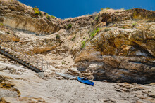 Kayaks On The Beach. Beach Access At Pismo Beach, Beautiful Central Coast Of California. Popular Place For Birds Watching, Fishing And Kayaking.