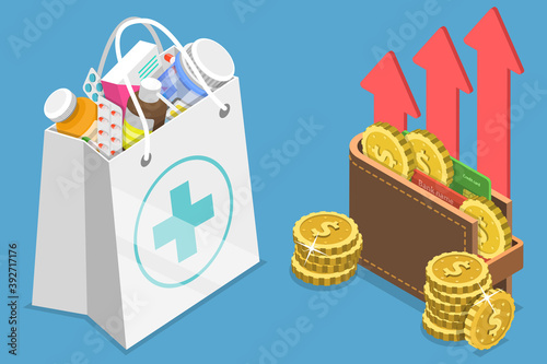 3D Isometric Flat Vector Conceptual Illustration of Rising Health Care Costs, Drugs Price Increase Fototapeta