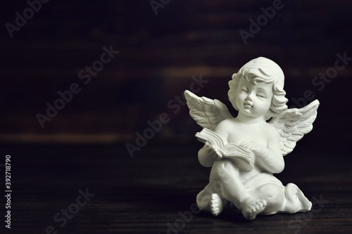 Photographie Guardian angel sitting and holding a book on dark background with copy space
