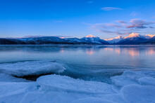 Frozen Lake At Sunset In Glaci...