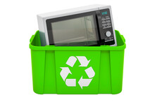 Recycling Trashcan With Microwave Oven, 3D Rendering