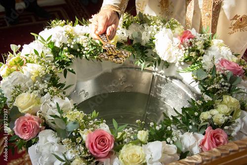 Fotografija floral arrangement for a baptismal font in Romania 2020
