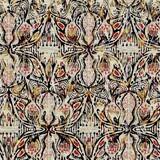 Seamless floral sepia grunge print texture background. Worn mottled flower bloom pattern textile fabric. Grunge rough blur linen all over print  - 392734557