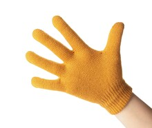 Woman In Yellow Woolen Glove On White Background, Closeup. Winter Clothes