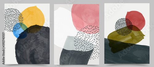 Fototapeta Vector illustration. Abstract contemporary aesthetic backgrounds. Design for cover, poster, postcard, card, flyer, brochure, frame. Wall decor. Modern art print. Watercolor painting. Hand painted obraz