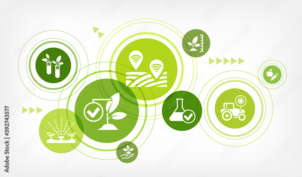 Fototapeta smart farm or farming vector illustration. Concept with icons related to agriculture technology, agritech, modern agronomy, monitoring crop, harvest optimization, iot in farming
