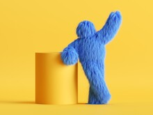 3d Render, Funny Yeti Cartoon Character Stands In Relaxed Pose Near The Empty Cylinder Podium. Funny Toy, Hairy Blue Monster Clip Art Isolated On Yellow Background