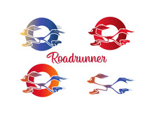 Vector Silhouette Of A Running Road Runner Bird In Sneakers. Logo For Your Company. Cartoon Running Roadrunner In Circle .Gradient Blue Red Orange Yellow Colors.