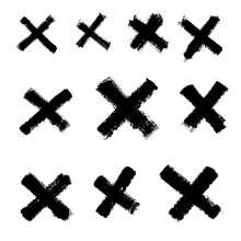 Vector Black Paint Brush Stroke Cross Graphic Symbol.