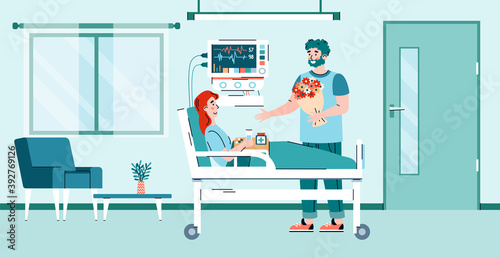 Tableau sur Toile Man visits a convalescent patient in a hospital room, cartoon flat vector illustration