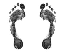 Black Human Footprint White Background Isolated Close Up, Adult Foot Print Pattern Illustration, Barefoot Footstep Silhouette Mark, Two Messy Bare Feet Painted Stamp, Ink Drawing Imprint, Sign, Symbol