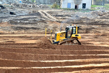 Bulldozer On Construction Site...