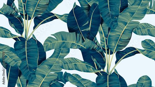 Fotografie, Obraz Botanical seamless pattern, hand drawn banana tree on bright blue