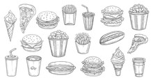 Sketch Fast Food Meals Isolated Vector Icons Ice Cream In Waffle Cone, Soda Drink And Burger With French Fries. Engraved Monochrome Signs Of Pizza, Hot Dog With Coffee And Cheeseburger Bistro Menu Set