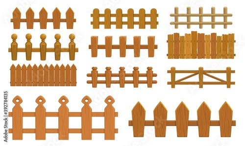 Fotomural Cartoon fence, wooden palisade vector farm gates or balustrade with pickets