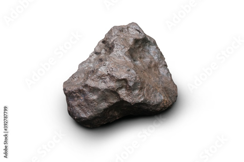 Obraz Speciment of Campo del Cielo IAB Iron Meteorite isolated on white background. - fototapety do salonu