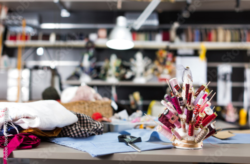 Illustration of room where working designer in the sewing workshop Canvas Print