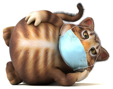 Fun 3D Illustration Of A Cat With A Mask