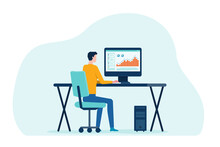 Businessman Working On Computer Concept And Business People Analytics And Monitoring Investment And Finance Report Graph On Monitor Concept