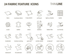 24 Fabric Feature Thin Line Icons-Pictograms With Editable Stroke No Round