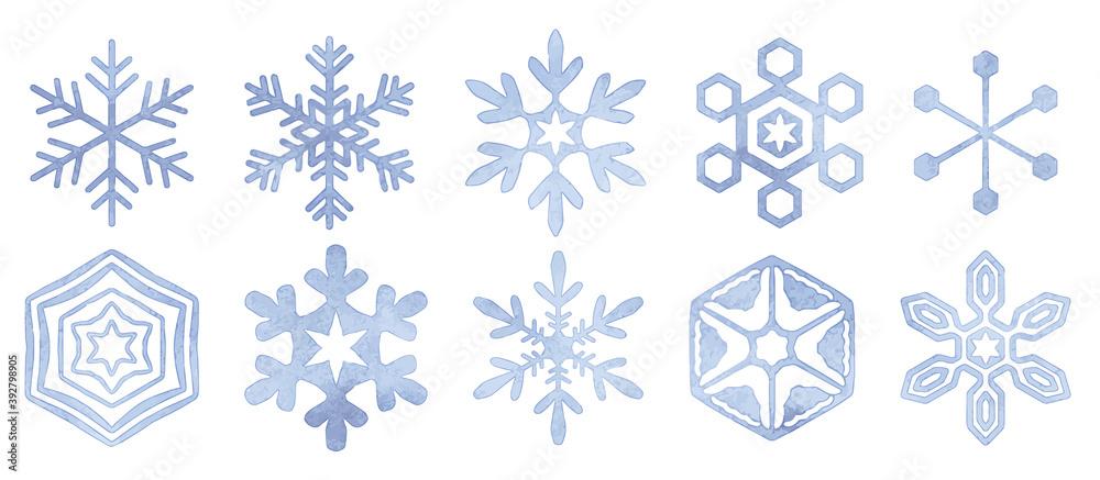 Fototapeta 水彩 シンプルな雪の結晶