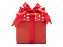 Red Polka Dots Gift Box With Bow Isolated On White