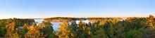 Panoramic Photo Of Swedish Nature Archipelago During Late Summer, Evening Sunset.