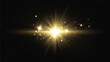 Shining golden stars isolated on transparent background.Effects,glare,lines,glitter,explosion,light