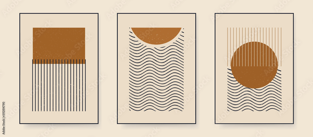 Fototapeta Set of minimalist abstract aesthetic illustrations. Modern style wall decor. Collection of contemporary artistic posters.